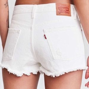 White Levi's 501 Jean Shorts - Button Fly